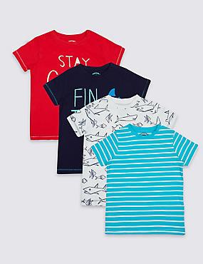 Lot de 4t-shirts 100% coton (du 3mois au 5ans), BLEU ASSORTI, catlanding