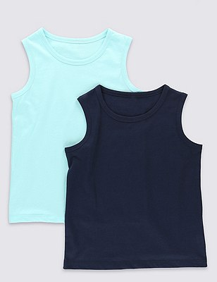 2 Pack Pure Cotton Vests (1-7 Years), NAVY MIX, catlanding