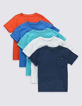 5 Pack Short Sleeve Crew Neck T-Shirts (1-7 Years)