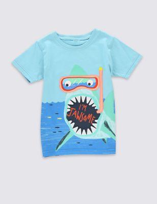 """Футболка из чистого хлопка """"Акула"""" для мальчика 1-7 лет от Marks & Spencer"""