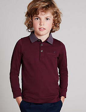 Pure Cotton Polo Shirt (1-7 Years), BERRY, catlanding