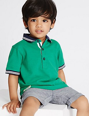 Pure Cotton Polo Shirt (3 Months - 5 Years), GREEN, catlanding