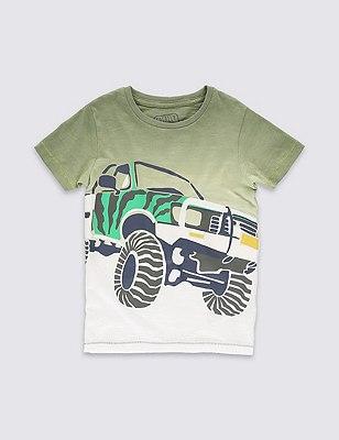 Pure Cotton Dip Dye Truck Print T-Shirt (1-7 Years), BLUE MIX, catlanding