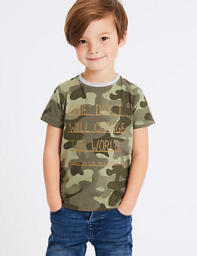 Pure Cotton Printed Top (3 Months - 7 Years), KHAKI, catlanding
