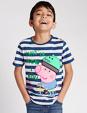 Pure Cotton Peppa Pig™ George Striped T-Shirt (1-7 Years)