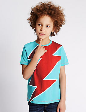 Pure Cotton Bolt Print T-Shirt (1-7 Years)
