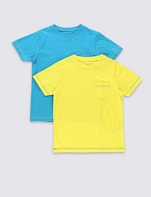 2 Pack Pure Cotton T-Shirts (1-7 Years), YELLOW MIX, catlanding