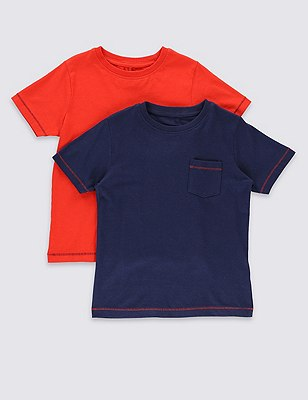 2 Pack Pure Cotton T-Shirts (1-7 Years), NAVY MIX, catlanding