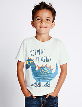Pure Cotton Dinosaur Print T-Shirt (1-7 Years), WHITE MIX, catlanding