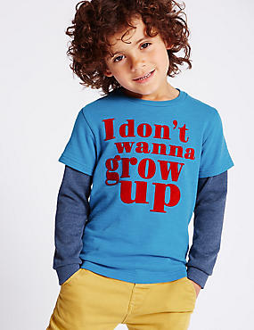 Pure Cotton I Don't Wanna Grow Up Slogan Sweatshirt (1-7 Years), BLUE MIX, catlanding