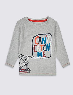 Cotton Rich Long Sleeve Top (3 Months - 5 Years), GREY MARL, catlanding