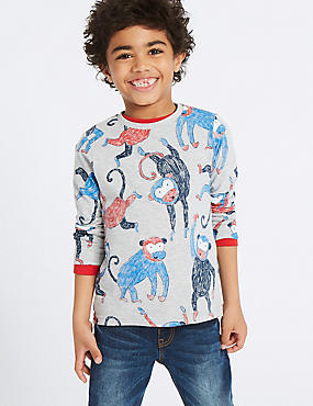 Cotton Rich Monkey Print Top (3 Months - 7 Years), GREY MARL, catlanding