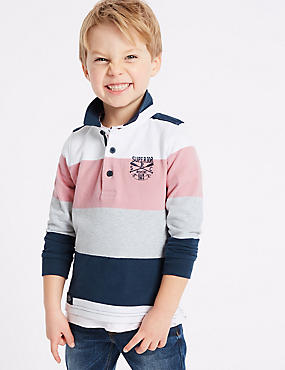 Pure Cotton Rugby Top (3 Months - 7 Years), MULTI, catlanding