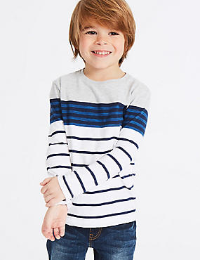 Cotton Rich Striped Top (3 Months - 7 Years), MULTI, catlanding