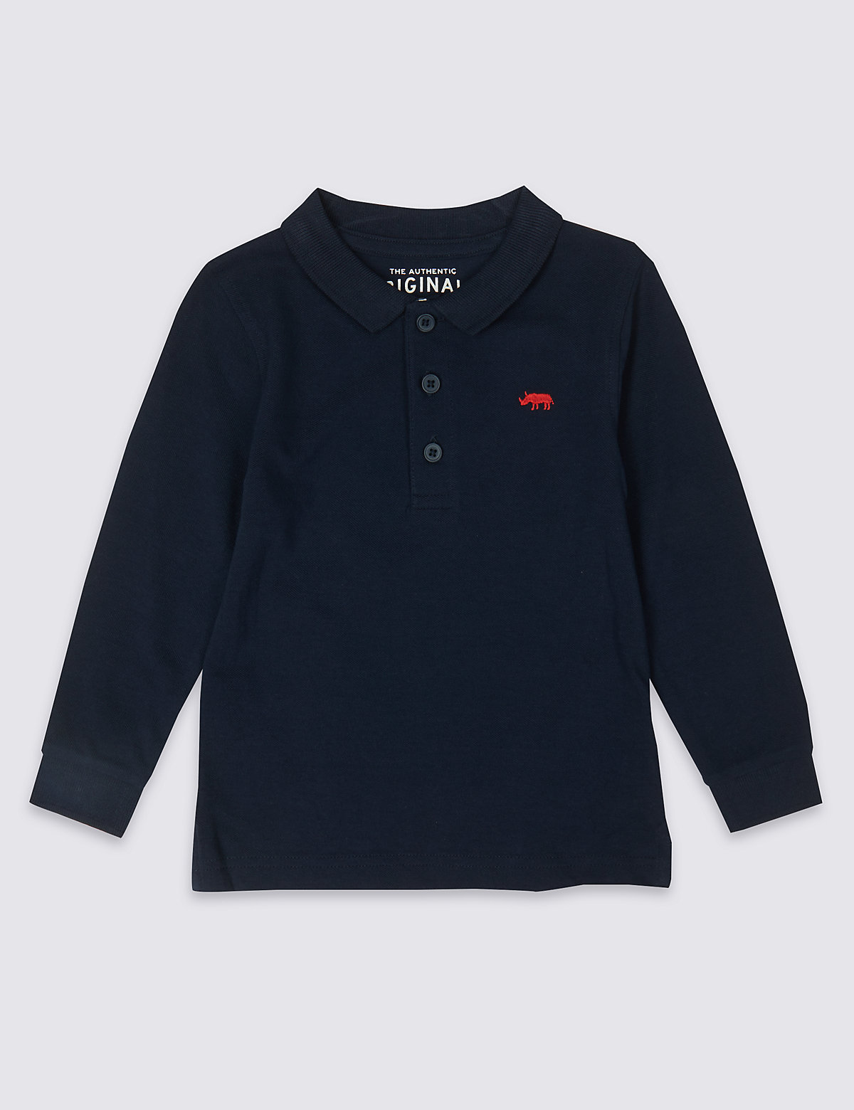 Хлопковая футболка-поло с вышитым носорогом