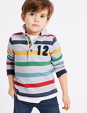Pure Cotton Striped Rugby Top (3 Months - 7 Years), MULTI, catlanding