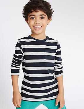 T-shirt en coton à rayures (du 3mois au 5ans), BLEU ASSORTI, catlanding