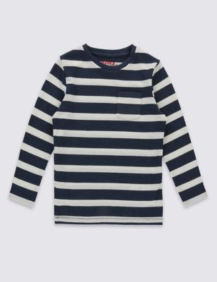 Хлопковая фактурная футболка в широкую морскую полоску для мальчика 3 мес - 5 лет T881455I