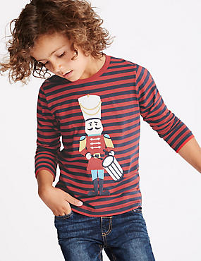 Pure Cotton Long Sleeve T-Shirt (1-7 Years), RED MIX, catlanding