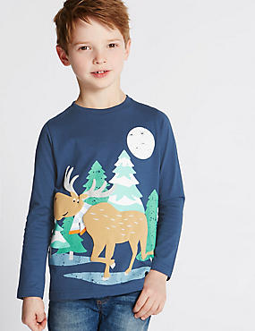 Augmented Reality Moose Top (1-7 Years), NAVY MIX, catlanding