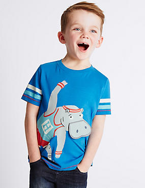 Pure Cotton Hippo Print T-Shirt with Fun Mouth Flap (1-7 Years)
