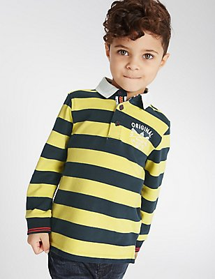 Pure Cotton Striped Rugby Top (3 Months - 3 Years), YELLOW, catlanding