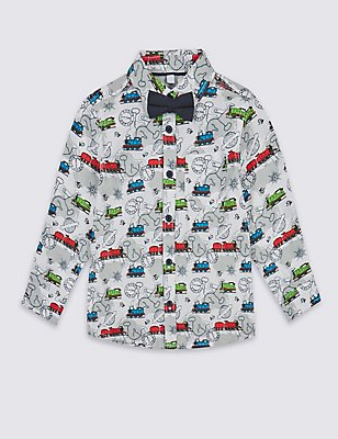 Pure Cotton Thomas & Friends™ Shirt with Bow Tie (1-6 Years), MULTI, catlanding