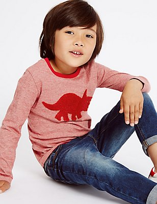 Pure Cotton Dino Top (3 Months - 5 Years), RED MIX, catlanding