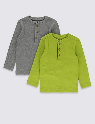 2 Pack Long Sleeve Waffle T-Shirts (1-7 Years), LIME MIX, catlanding