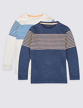 2 Pack Striped Tops (3 Months - 6 Years), MULTI, catlanding