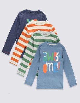 Хлопковые футболки с длинным рукавом Awesome для мальчика 1-7 лет (4 шт)