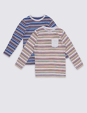 2 Pack Cotton Rich Striped Tops (3 Months - 5 years), MULTI, catlanding