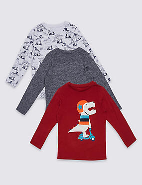 3 Pack Long Sleeve Tops (3 Months - 5 Years), MULTI, catlanding