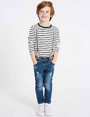 Cotton Rich Jeans with Braces (3 Months - 5 Years), DENIM, catlanding