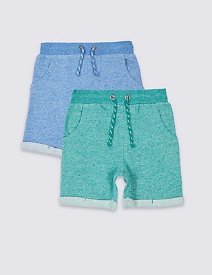 2 Pack Pure Cotton Shorts (3 Months - 5 Years), MULTI, catlanding