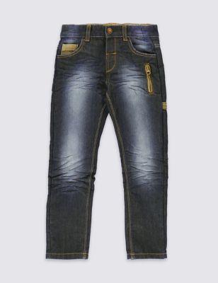 Потёртые джинсы с регулируемым поясом для мальчика 1-7 лет от Marks & Spencer