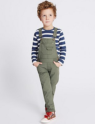 Pure Cotton Dungarees (3 Months - 5 Years), DARK SAGE, catlanding