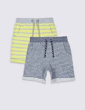 2 Pack Pure Cotton Shorts (3 Months - 5 Years), CITRUS, catlanding