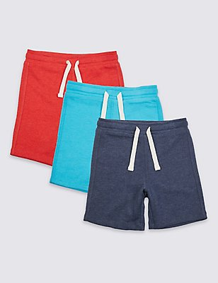 3 Pack Cotton Rich Shorts (3 Months - 5 Years), BLUE MIX, catlanding