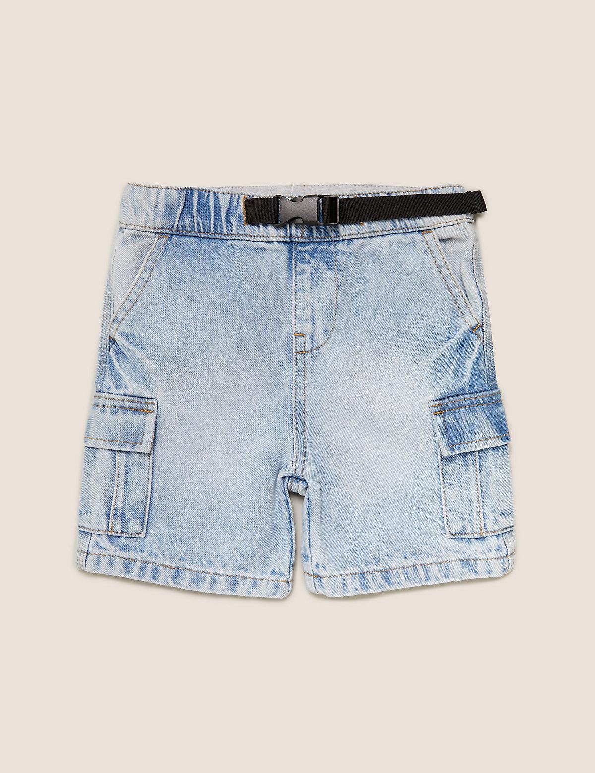 Джинсовые шорты из чистого хлопка с карманами