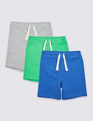 3 Pack Cotton Rich Shorts (3 Months - 5 Years), GREEN MIX, catlanding