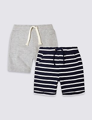 2 Pack Jersey Shorts (3 Months - 5 Years), MULTI, catlanding