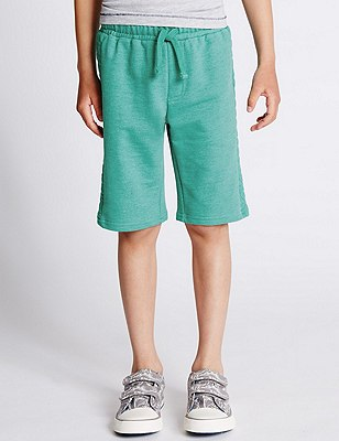 Cotton Rich Quilted Shorts (1-7 Years), GREEN, catlanding