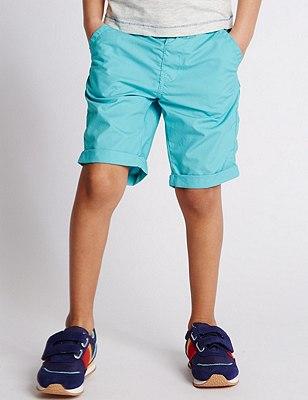 Pure Cotton Adjustable Waistband Shorts (1-7 Years), AQUA, catlanding