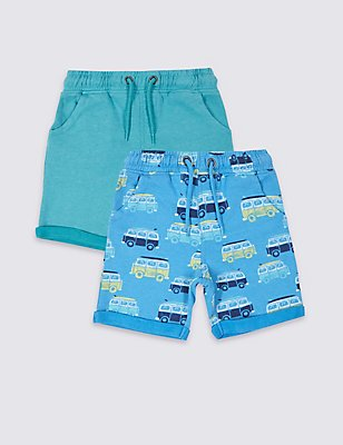 2 Pack Cotton Rich Shorts (3 Months - 5 Years), MULTI/BRIGHTS, catlanding