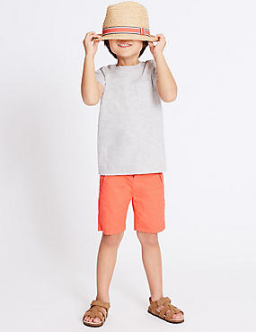 Pure Cotton Embroidered Shorts (3 Months - 5 Years), CORAL, catlanding