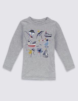 """Хлопковая футболка с аппликацией """"Морское путешествие"""" для мальчика 3 мес - 5 лет T882146P"""