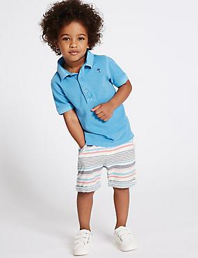 Gestreifte Shorts aus reiner Baumwolle (3 Monate–5 Jahre), MEHRFARBIG, catlanding
