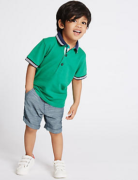 Pure Cotton Textured Woven Shorts (3 Months - 5 Years), MULTI, catlanding
