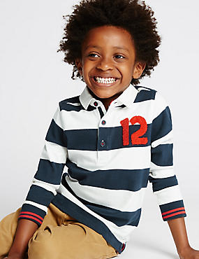 Pure Cotton Striped Rugby Top (1-7 Years), NAVY MIX, catlanding